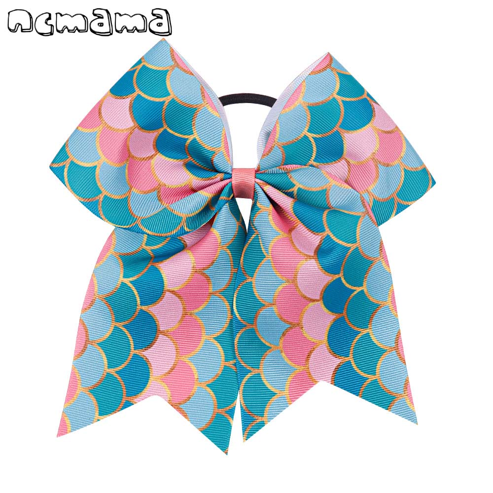 7 Large Mermaid Ribbon Cheer Bow For Girls Hair Bows With Letter Red Lips Printed Elastic Band Bow Children Hair Accessories Attractive Fashion Hair Accessories