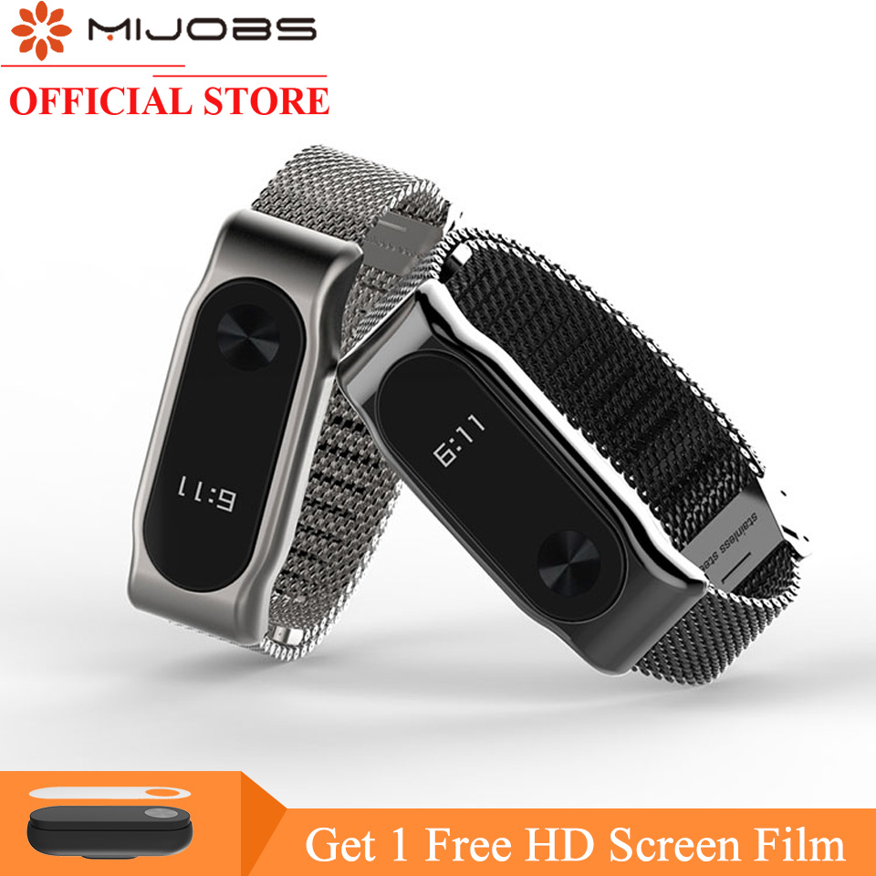 Mijobs Milanese Cinturino In Metallo Per Xiaomi Mi Band 2 Smart Orologio Bracciale In Acciaio Inossidabile Miband 2 Strap Braccialetti Senza Viti