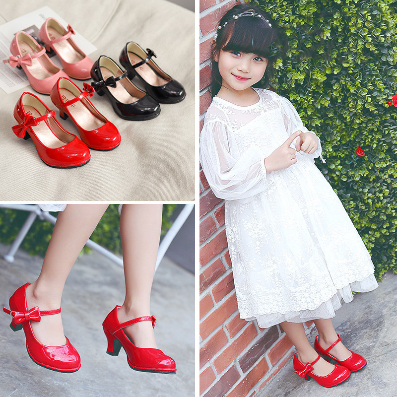Girls High Heeled Leather Shoes Red