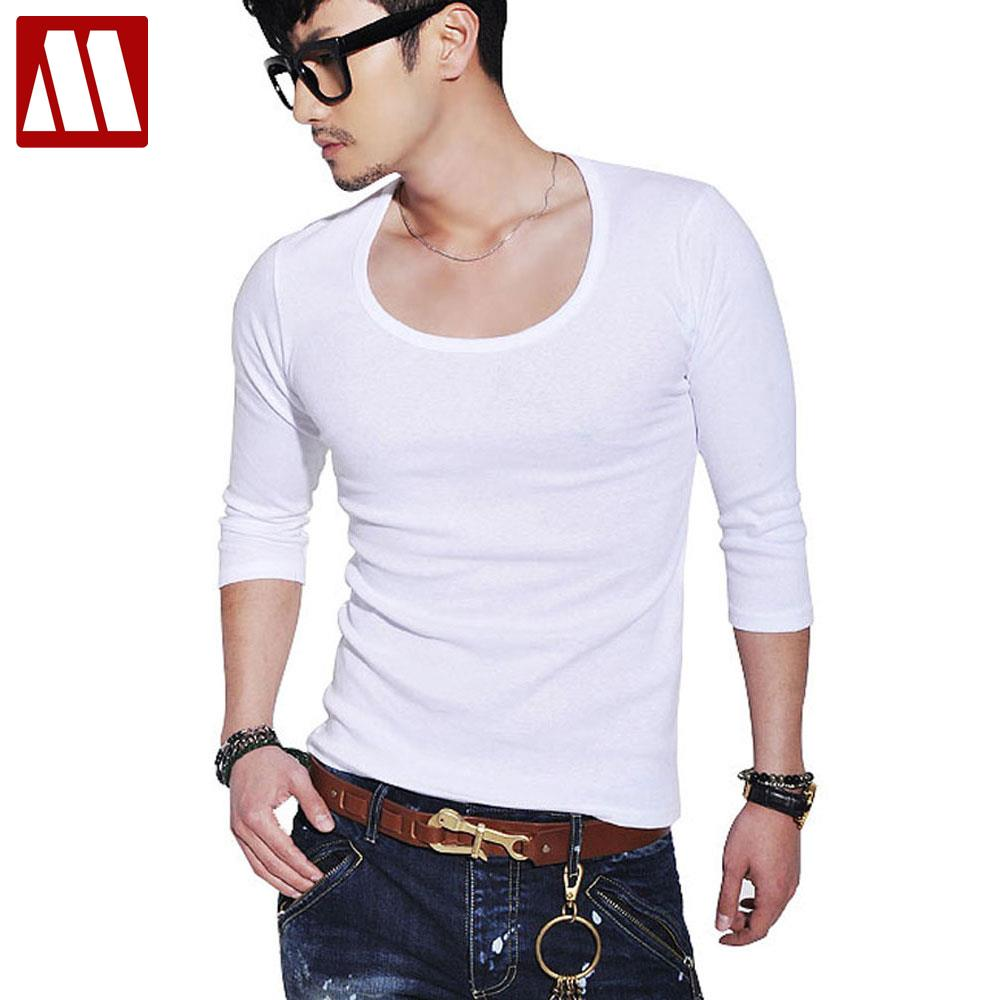 5e30044809b3 New Casual cotton t shirts for men O Neck Long Sleeve Shirt Men's Slim Fit  Solid Color Stylish Scoop Neck mens tops 18color D012-in T-Shirts from  Men's ...