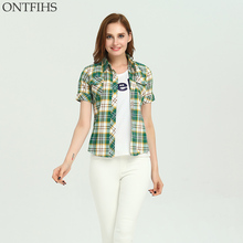 ONTFIHS New Plaid & Checks Shirt casual kimono cardigan Slim Brand Women's tunic Women tops and Blouse  Cotton shirts S-30