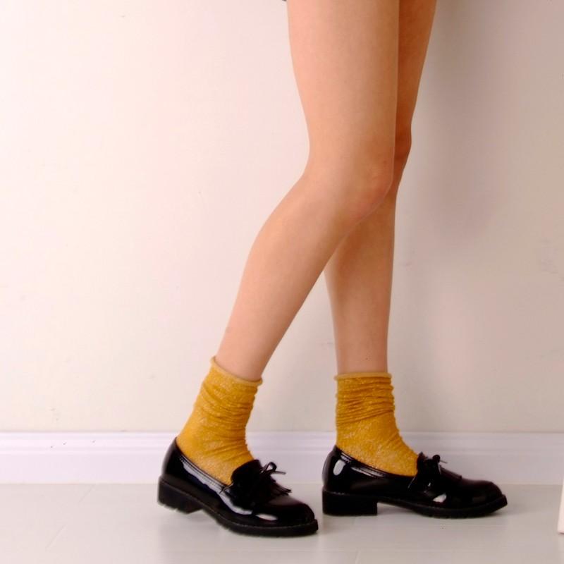 Fashion Long Socks Women Winter Cotton Happy Socks Funny Shiny Loose Glitter Socks Thick Warm Edge Curl Elegant Christmas Socks 12