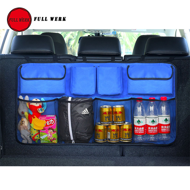 Large Capacity Car Seat Back Organizer SUV Trunk Storage Bag Clothes Umbrella Drink Food Kid Toys Container Stowing Tidying