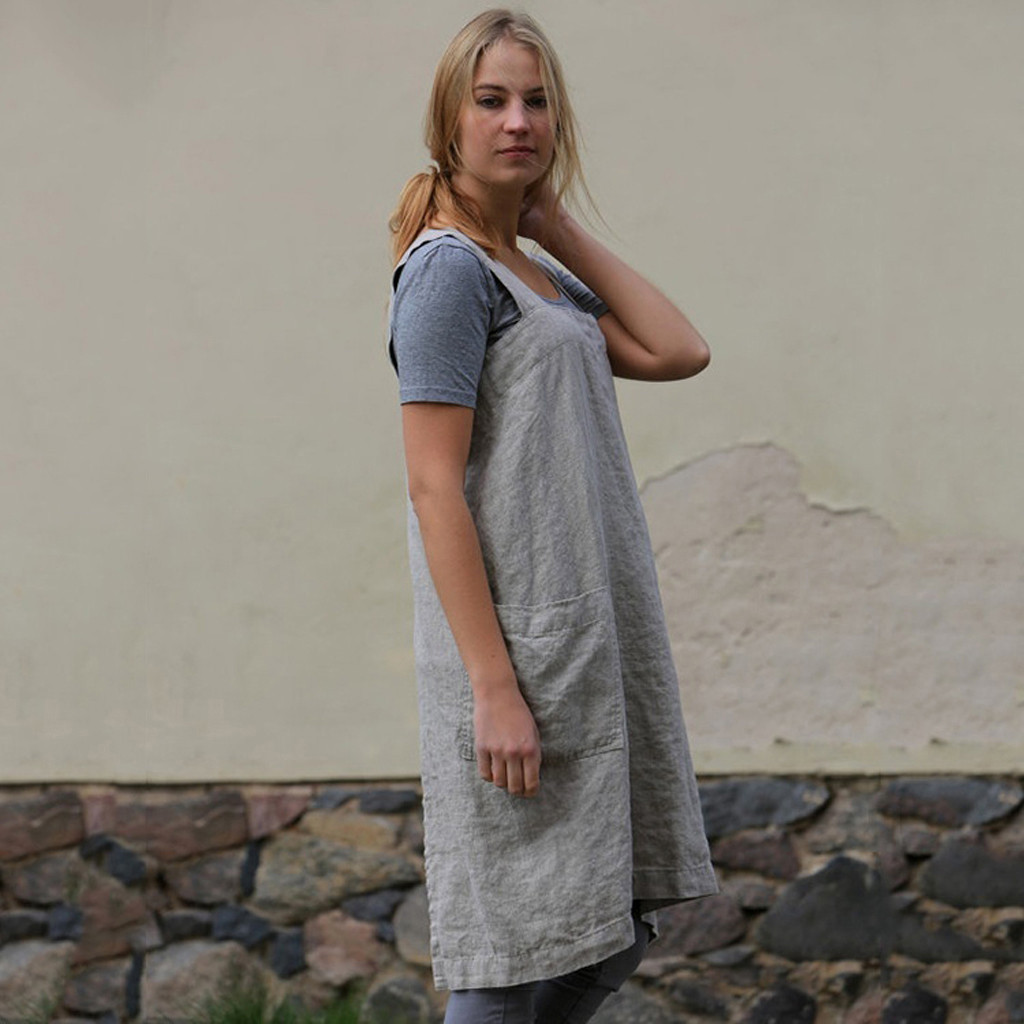 Casual Women Dress Cotton Linen Pinafore Square Cross Strap Skirt  with Pocket Apron Garden Work Pinafore Dress Vestidos Casuale