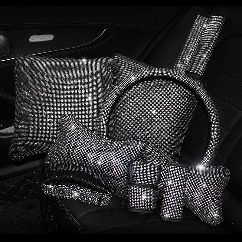 Bling Rhinestones Crystal Car Interior Accessories Diamond Steering Wheel Cover Neck pillows Waist Support Handbrake Shift Set car headrest interior accessories car interior accessories - title=