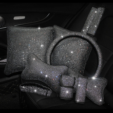 Модные Стразы Кристалл автомобиля салонные аксессуары Diamond Руль Обложка средства ухода за кожей шеи подушки талии поддержка ручной тормоз