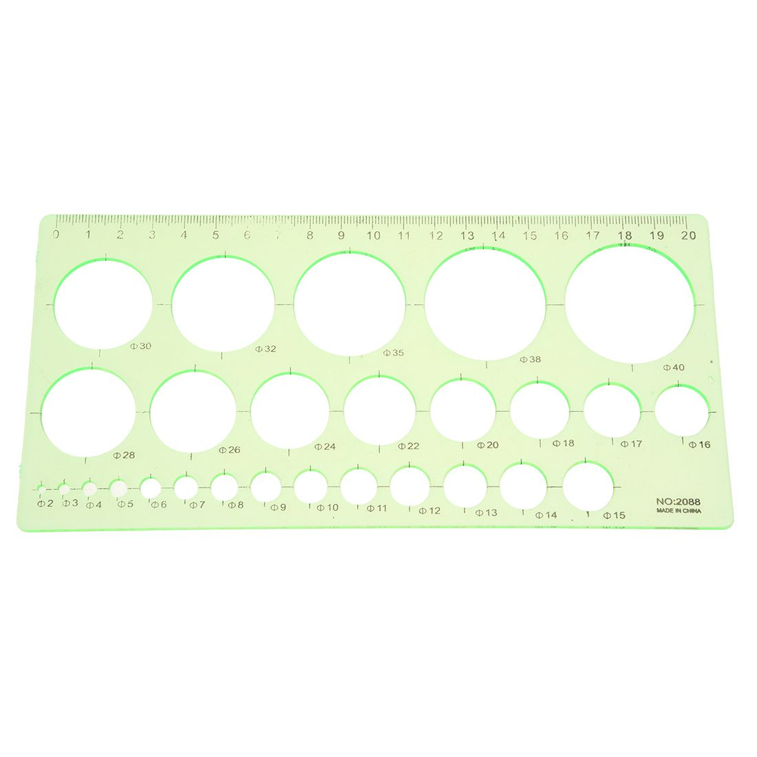 HOT-Green Plastic Students Rectangle Shape Drawing Circle Template Ruler