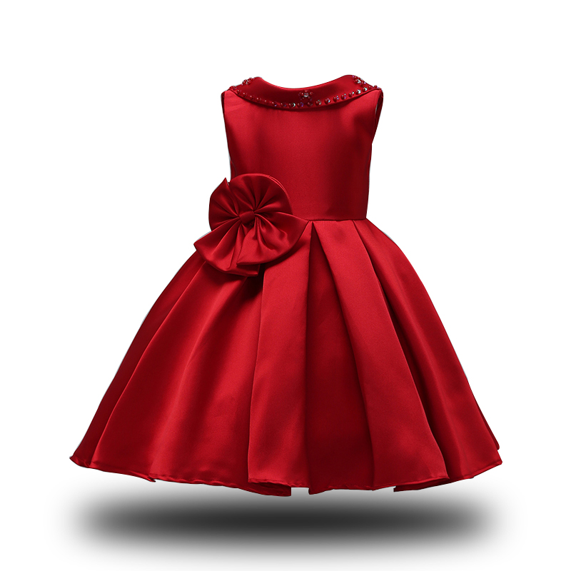 2018 New Flower Girl Dresses Red Party Pageant Christmas Dress Girls Kids Children Dress for Wedding Dresses for girls 3-10Y