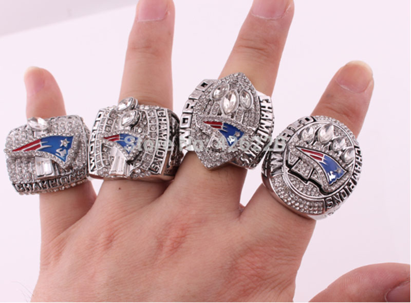 Wholesale Free Shipping 2001 2003 2004 2014 New England Patriots Super Bowl Football Championship Ring Set