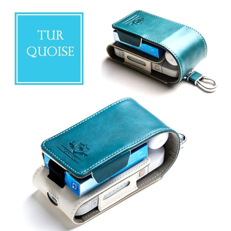 Para IQOS cubierta del tirón del cuero del caso cigarrillo electrónico funda de negocios flamenco Logo Clip Hangable e-cigarrillo Accesorios bolsa