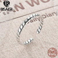 BISAER New Arrival 100 925 Sterling Silver Twisted Rope Engrave Ring For Women European Sterling Silver