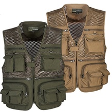 Outdoor Fishing Vests Breathable Multi Pocket Mesh Jackets Photography Hiking Vest Army green Quick Dry Fish Vest