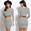 Spring Women Sportset Fashion Sexy 3/4 Sleeve Striped Crop Top T Shirt and Bodycon Pencil Skirt Set