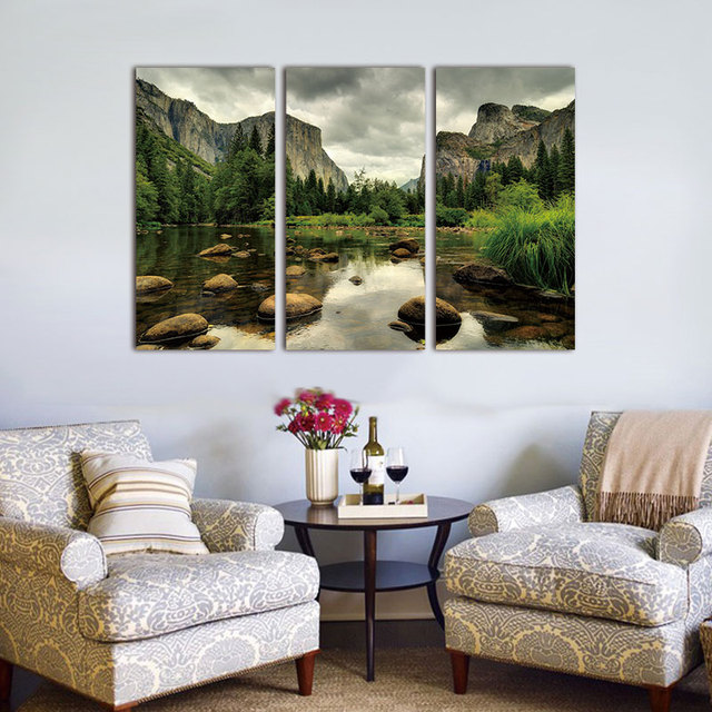 Canvas Painting Wall Art Pictures White Cloud Snowy Green Lake 3 Pieces  Yellow Mountain Home Wall