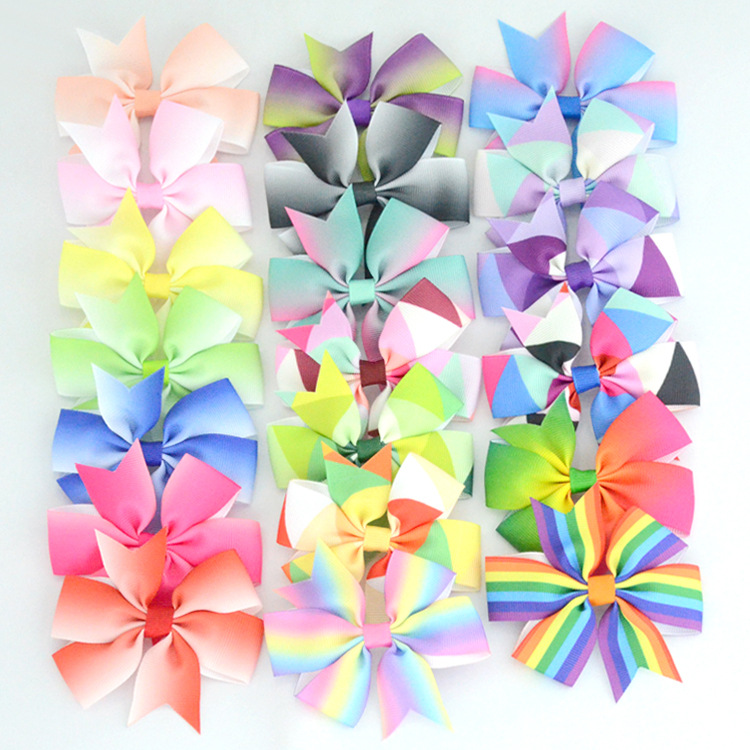40pcs/lot 3'' Grosgrain Ribbon Boutique Hair Bows Without Clips Pinwheel Rainbows Bow For Girls Kids Hairbow Hair Accessories 2pcs lot printed crown hair bows layered grosgrain ribbon hairbow for kids girls hairgrips handmade hair accessories