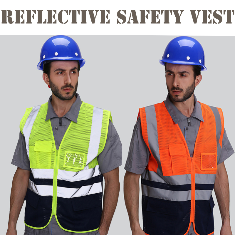 Safety Clothing Reflective Polyester Mesh Vests With Pockets For Construction Worker In Summer Silk Screen Company Logo Printing