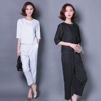 2016 New Spring Summer Fashion Casual Pant Suit 2 Piece Set Women Black White Stripes Loose
