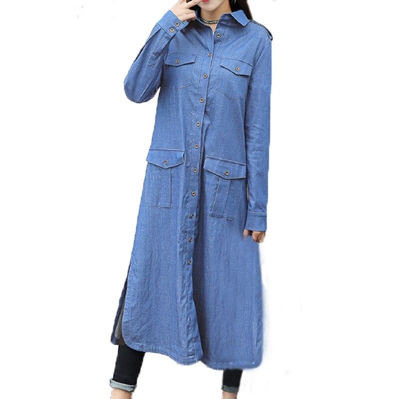 Plus Size S-5XL ZANZEA Women Lapel Buttons Down Denim Jeans Long Sleeve Tops Blusas Winter Autumn Ladies Casual Coat Jacket