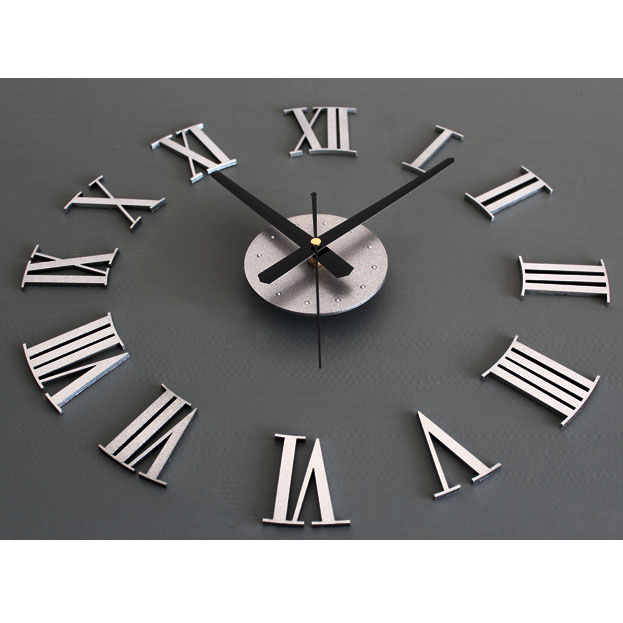 New DIY Adhesive Silver Vintage Roman Numeral Number Frameless Wall Clock  3D Home Decor Living Room