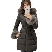 Natürliche Fuchspelz Parka Femme, Weiße Gänsedaunen Winterjacke Frauen, Mittellange Dicken Warmen Mantel Weiblichen lange Daunenjacke TT1657