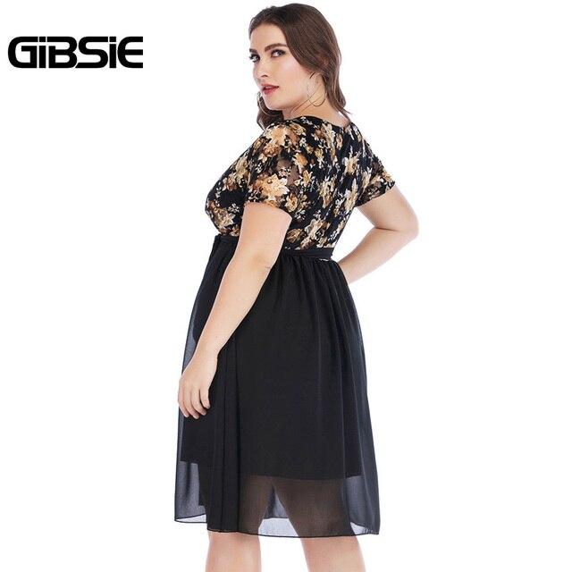 GIBSIE Wrap V Neck Short Sleeve Floral Print Chiffon Dress with Belt Summer Women Elegant Plus Size Knee Length Party Dress 1