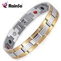 De Rainso Plata Oro 4 Elementos de La Terapia de la Energía Magnética Pulsera de Acero Inoxidable para Los Hombres Envío Libre Bicolor OSB-1542SG