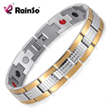 Rainso Silver Gold Magnetic 4 Elements Energy Therapy Stainless Steel Bracelet for Men Two Tone Free Shipping OSB-1542SG