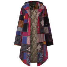 Female Jacket Women Hooded Long Sleeve Vintage Ladies Fleece Thicken Coats Button Coat Autumn winter wool coat Plus Size