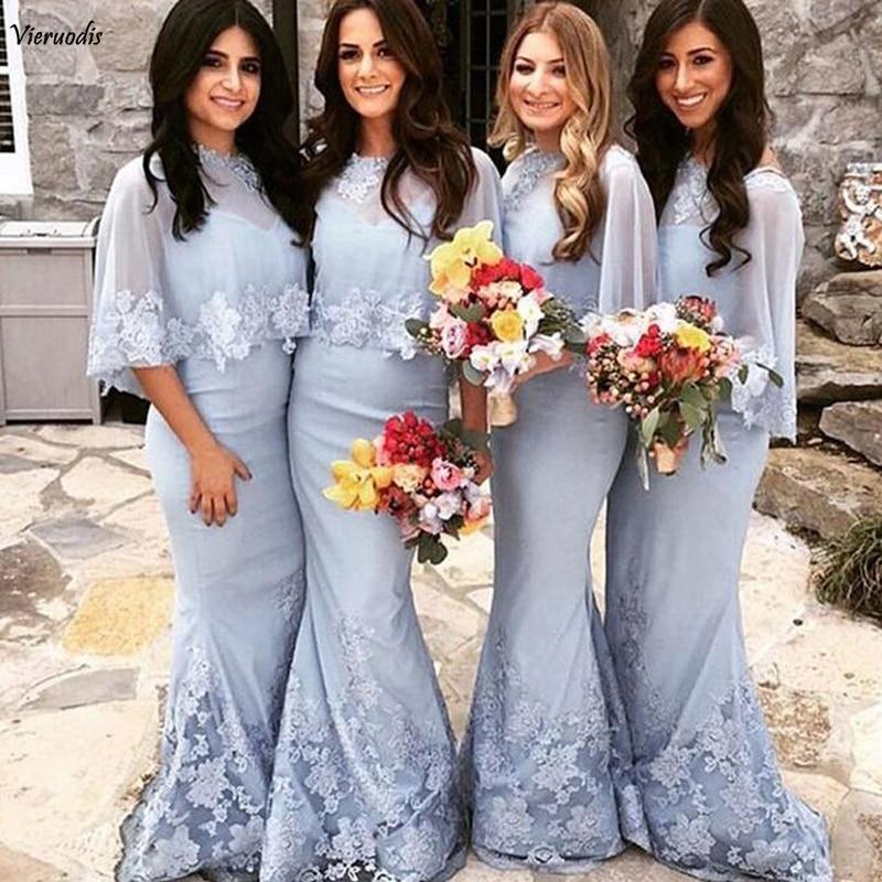 152-1            Blue 2019 Cheap Bridesmaid Dresses Mermaid Appliques Lace Long Wedding Guest Party Dresses robe demoiselle d'honneur