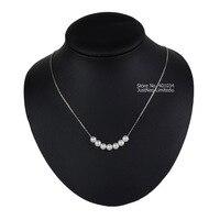Collar de perlas chocker, perfecto redondo blanco la pequeña perla colgante Cluster bijoux, Tiny cadena de Cable de par mujeres