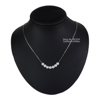 Perfect Round Cultured Freshwater Pearl Necklace Jewellery 925 Sterling Silver Cable Chain Necklace Jewelry For Women
