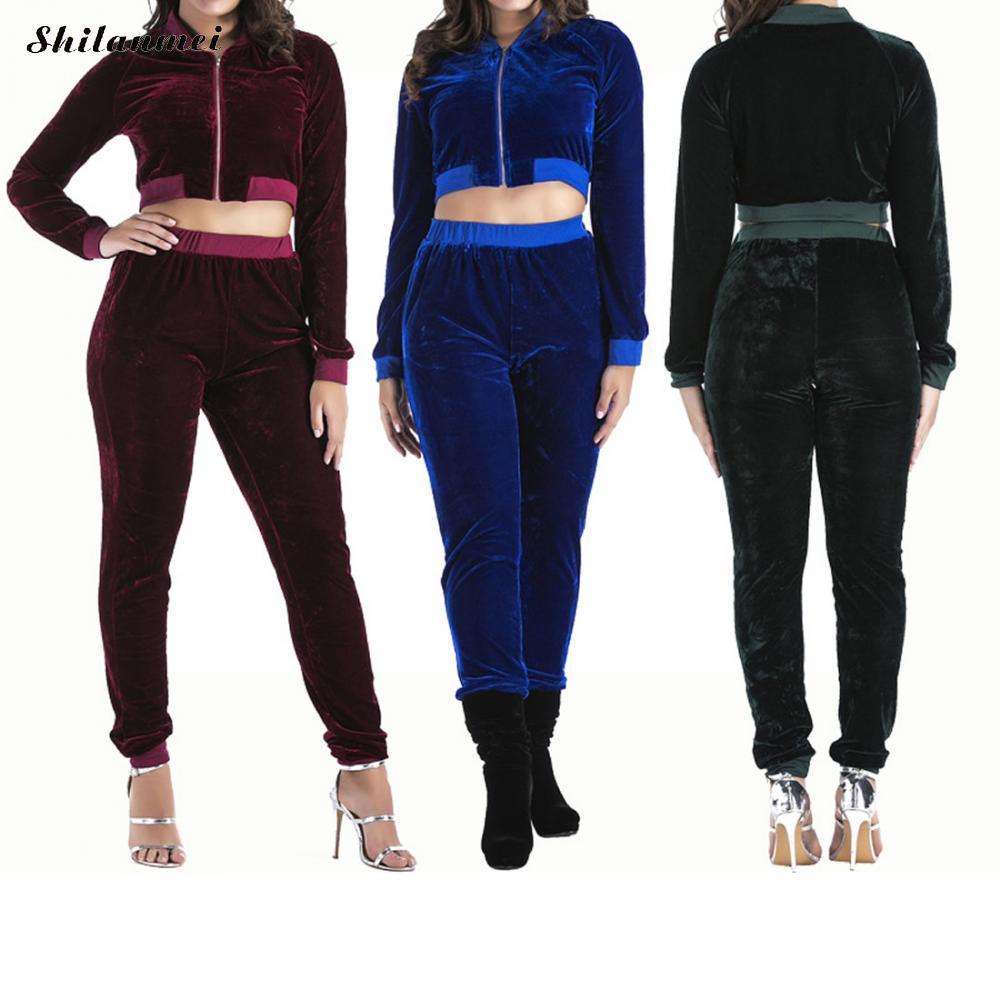 Velvet Women Sets 2017 Fashion Long Sleeve Bodycon Sweat Suits Hoodies Tracksuit Sweatshirt Crop Tops Two Piece Trousers Women