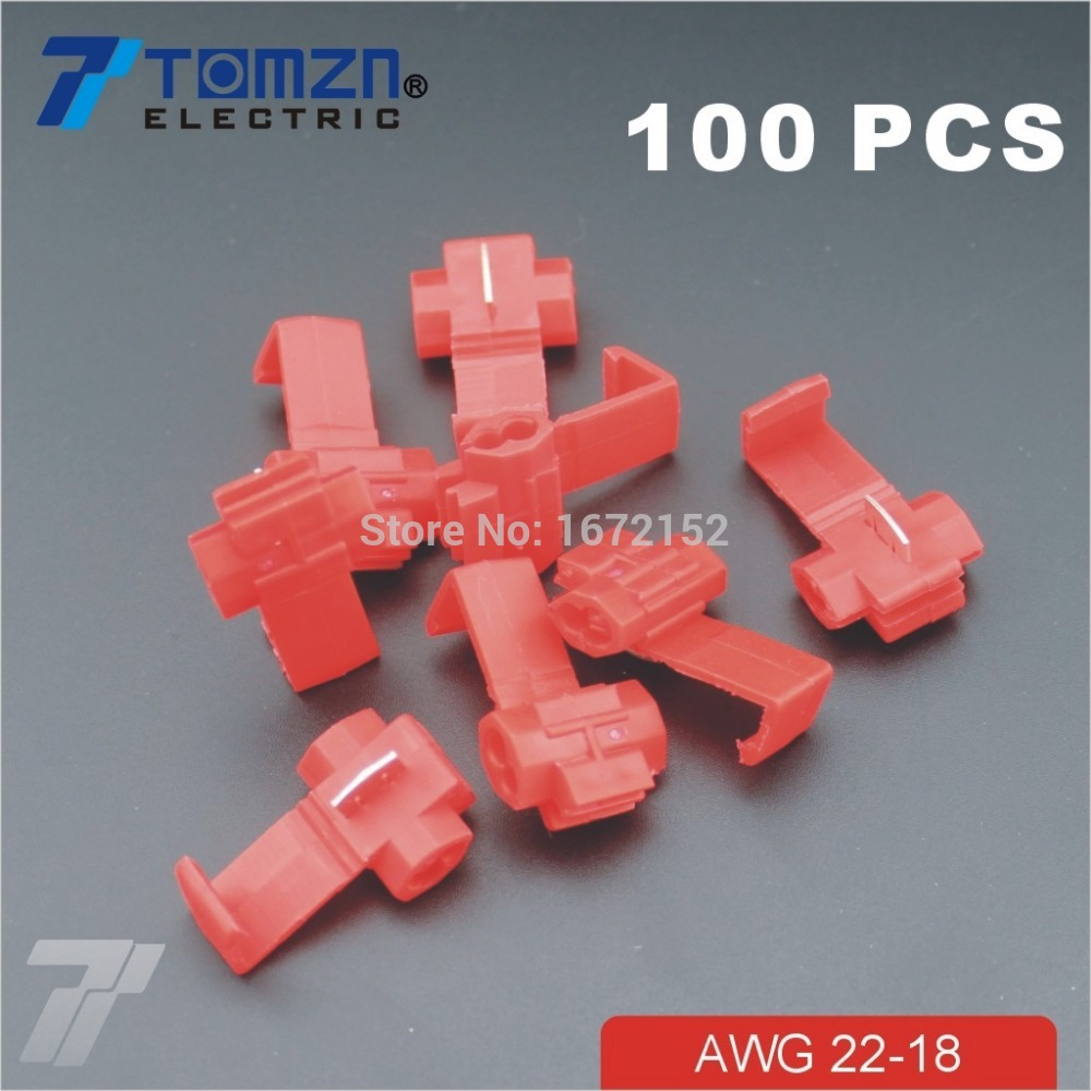 100 pcs Wire terminals quick wiring connector cable clamp AWG 22-18 5pcs t shape 2 pin scotch lock quick splice wire wiring connector for 22 18awg led strip wire car audio cable terminals crimp