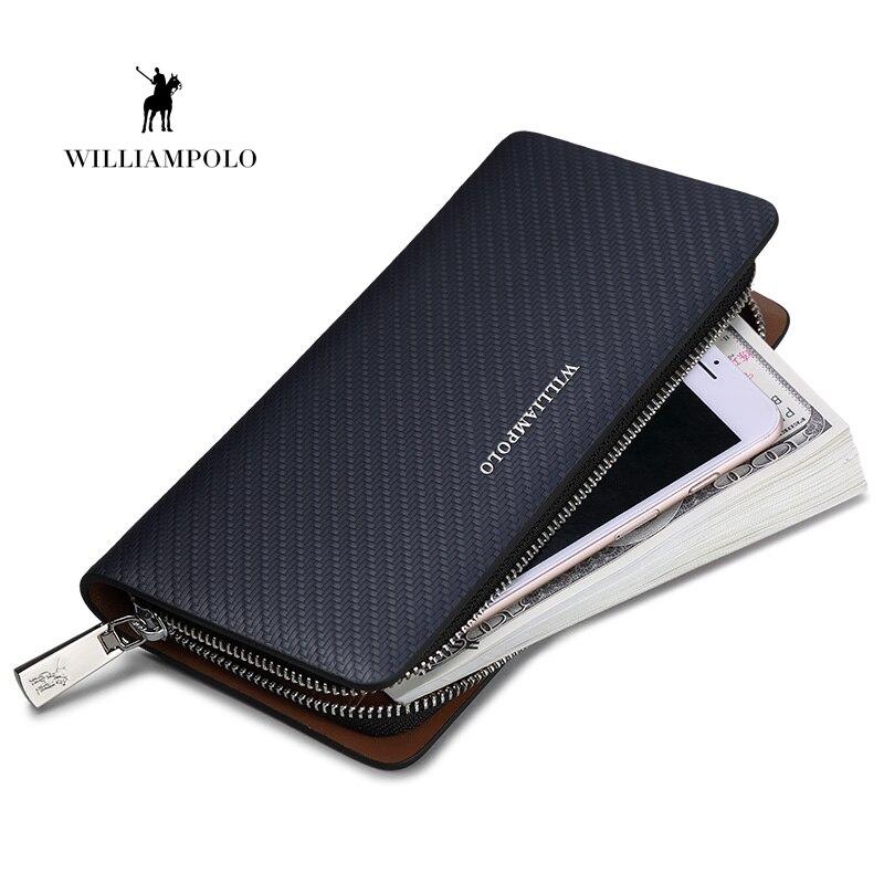 HOT WILLIAMPOLO Original Brand 100 Leather Wallet Men Long Knitting Pattern Wallet Men Luxury Brand Wallets