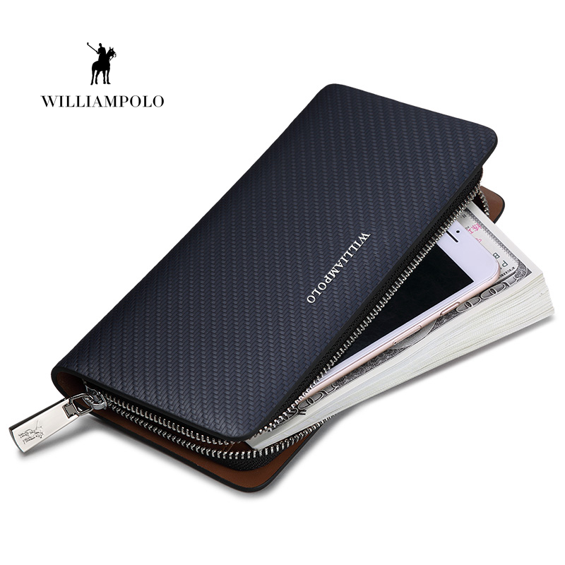 HOT!!! WILLIAMPOLO Original Brand 100% Leather Wallet Men  Long Knitting Pattern Wallet Men Luxury Brand Wallets PL118-in Wallets from Luggage & Bags    1