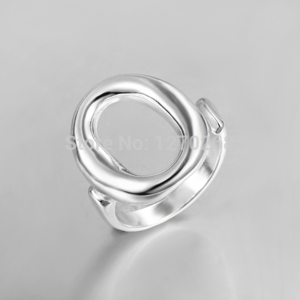 Top fashion silver plated letter o-finger ring Simple and beautiful jewelry factory price selling in Europe and America