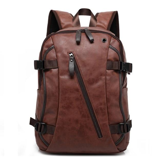 MAGIC UNION Men Oil Wax Leather Backpack Men's Casual Backpack & Travel Bags Western College Style Man Backpacks Mochila Zip Men 5