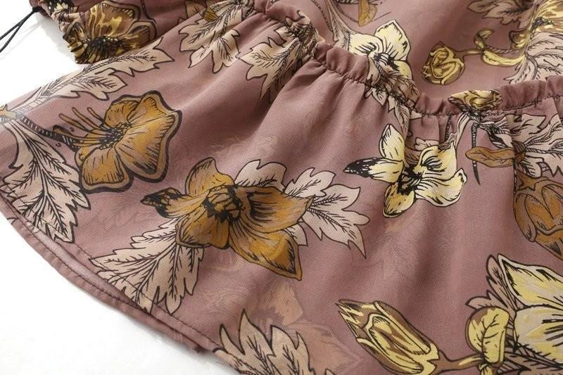 women dress Autumn winter long sleeve ruffle chiffon dress Vintage loose short dress Boho floral print tassel vestidos 21