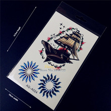 1PC Sexy Men Women Makeup Fake Tattoo Flying Boat Magical Ship Sun Totem Flash Waterproof Temporary Tattoo Arm Leg Stickers HQ24