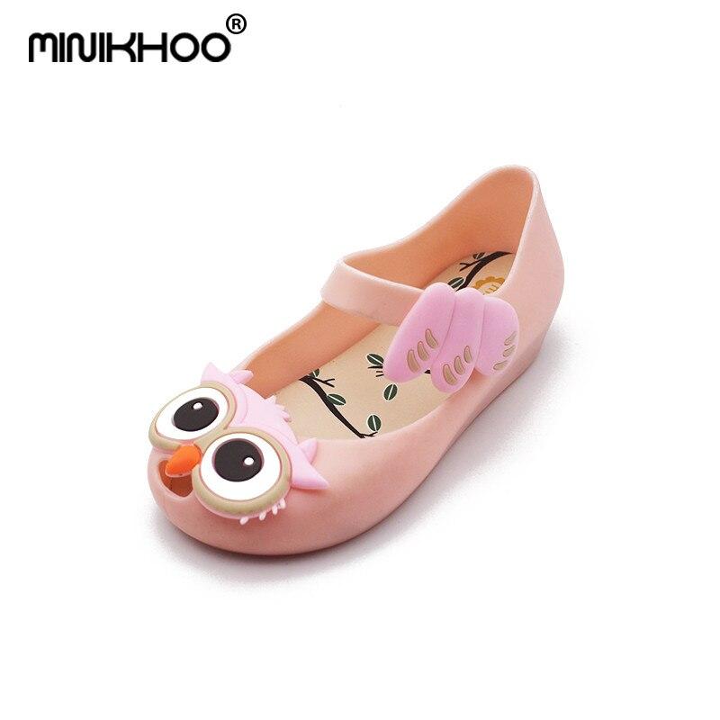Mini Melissa Cute Owl Girls Jelly Sandals 2018 New Children Sandals Jelly Sandals PVC Rain Shoes Beach Sandals Mini Melissa