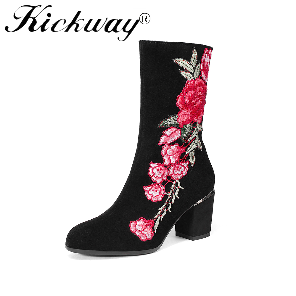 Kickway Autumn Winter Women Boots Leisure Flowers Embroidery flock Boots Ladies Slip on Thick Med Heel Round Toe Mid Calf Boots цены