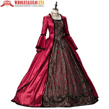 Red Marie Antoinette Dress Renaissance Victorian Period Dress Antique Floral Prom Gown Clothing