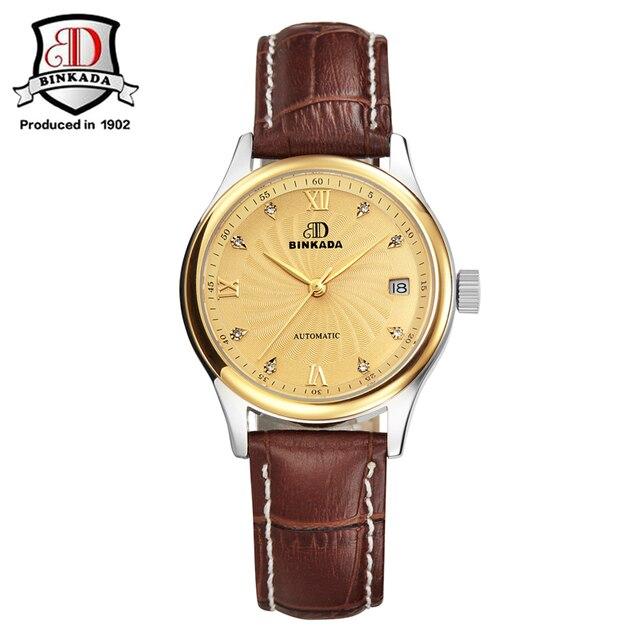 2017 бренд binkada часы Для женщин Деловые часы Обувь для девочек часы 2017 Роскошные Для женщин автоматическое diamond женские часы Наручные часы