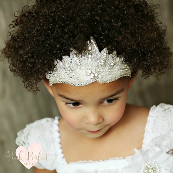 New Fashion Diamond Rhinestone Upscale Children's Hair Band Angel Wings Crown Kids Princess Headwrap Baby Girls Headband