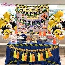 Koparka nadmuchiwane balony ciągnik budowlany temat banery ciężarówka pojazd Baby Shower dzieci chłopcy materiały urodzinowe