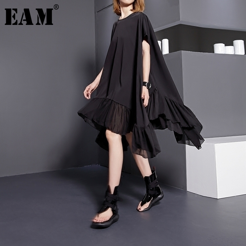 [EAM] 2020 New Spring  SummerRound Neck Short Sleeve Solid Color Black Split Joint Loose Big Size Dress Women Fashion Tide 446