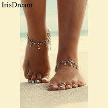 Antique Vintage Silver Bohemian Tassel Anklet For Women Ankle Bracelet Beach Foot Chain Anklets Barefoot Sandals Boho Jewelry