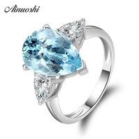 AINUOSHI 3 кольцо с камнями 925 Серебро Природный Голубой топаз кольцо капля 5 карата Жемчужина Драгоценный камень с огранкой свадебное кольцо дл