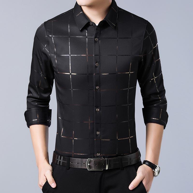 2020 Brand Casual Spring Luxury Plaid Long Sleeve Slim Fit Men Shirt Streetwear Social Dress Shirts Mens Fashions Jersey 2309 8