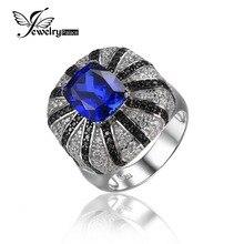 JewelryPalace Lujo 3.9ct Creado Azul Zafiro Natural Negro Espinela Anillo de Cóctel Joyería de Plata 925 Sólida para Las Mujeres de Moda